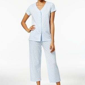 Charter Club Short Sleeve Top & Cropped Pant PJs